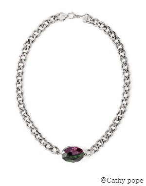 RUBY ZOISITE SILVER NECKLACE