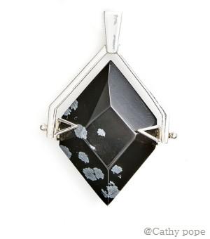 Snowflake Obsidian Silver Spinner Pendant