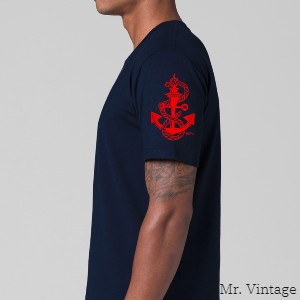 Dick Frizzell – Sailor Jerry Anchor Sleeve mens navy t-shirt